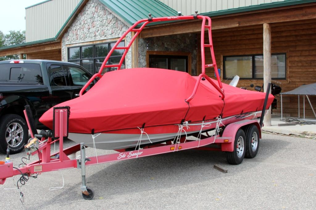 Beautiful red snap on boat cover!