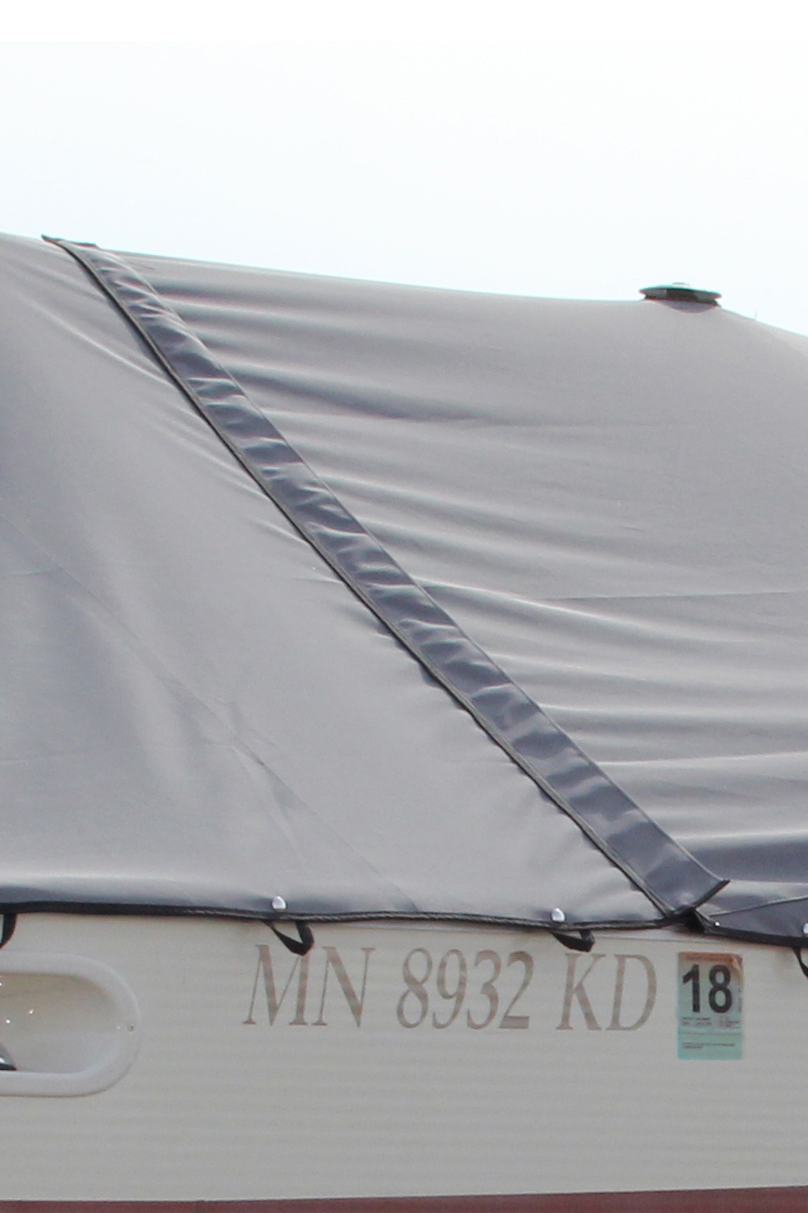Close up of CanvasWorks Pontoon Boat Cover