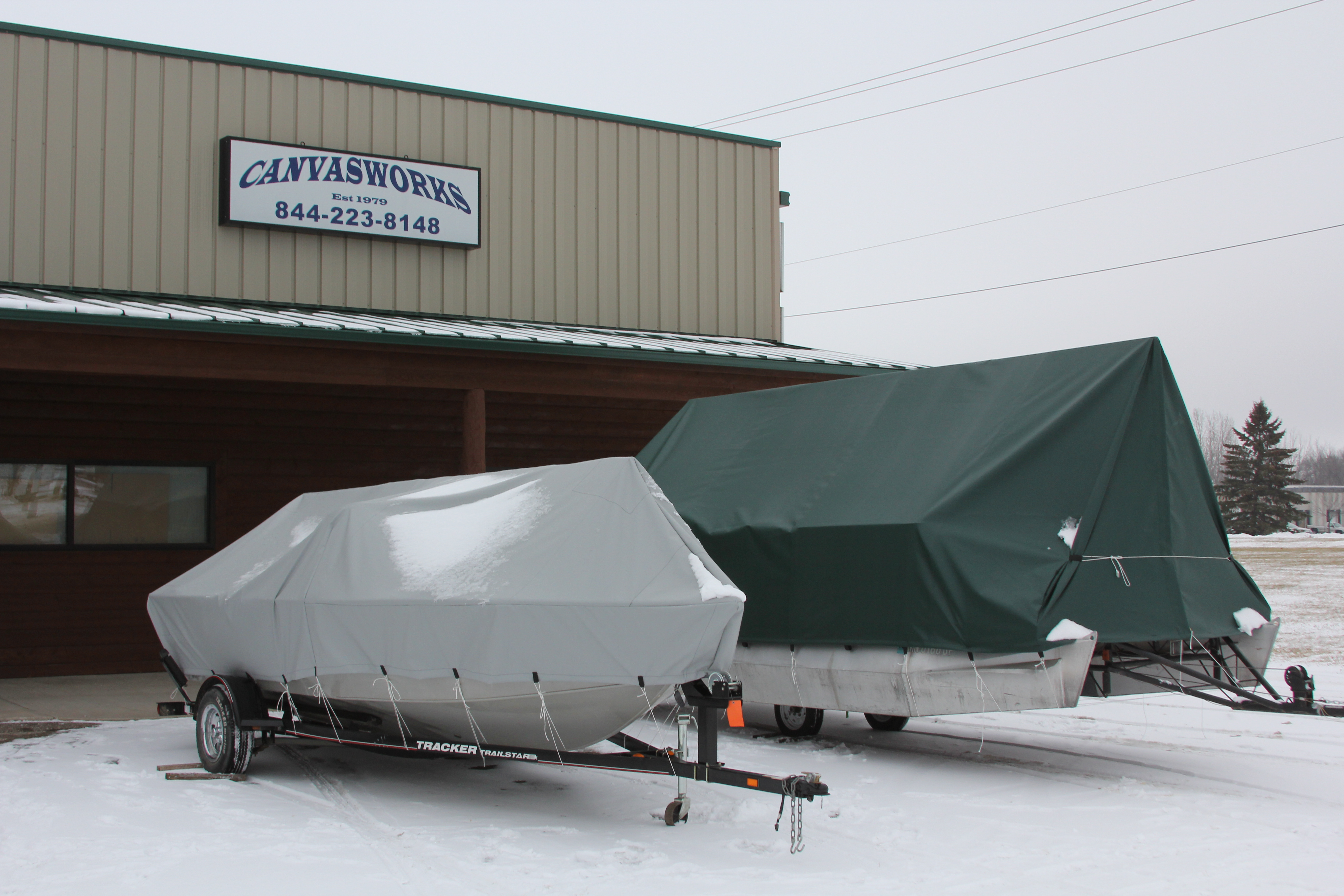 Canvas covers for storing boats in the winter
