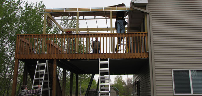 construction of a residential awning over a deck